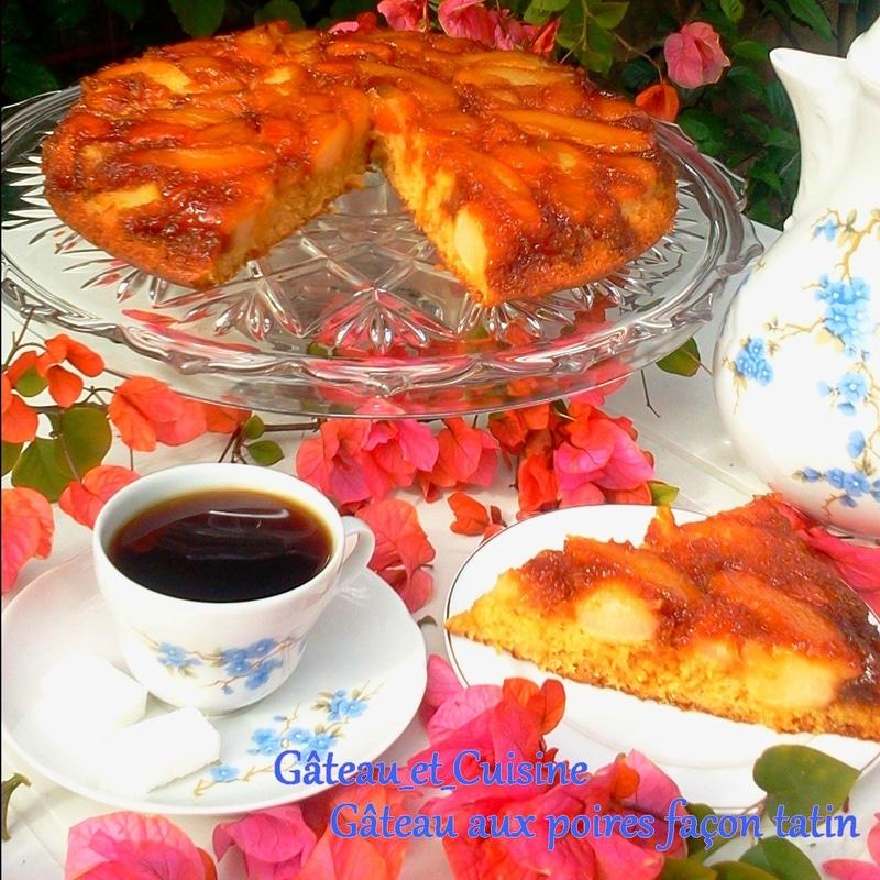 gâteau renversé facile aux poires