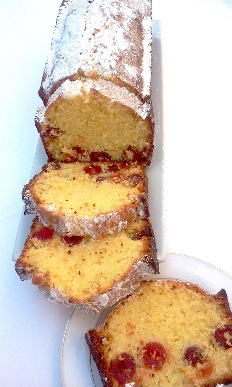 cake moelleux citron et cerises confites