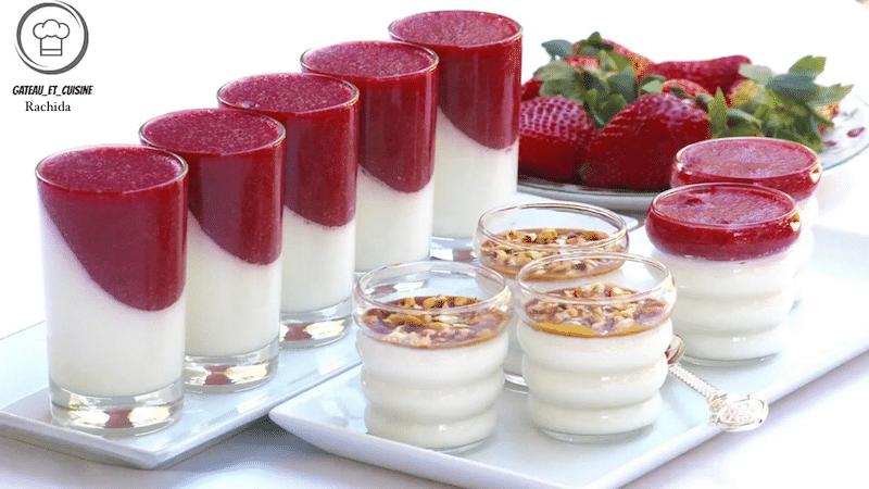panna cotta recette coulis de fraises-gateau et cuisine rachida