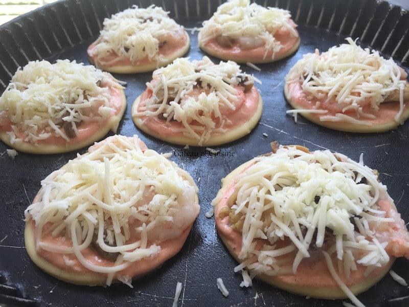 recette mini pizzas aux crevettes et crème