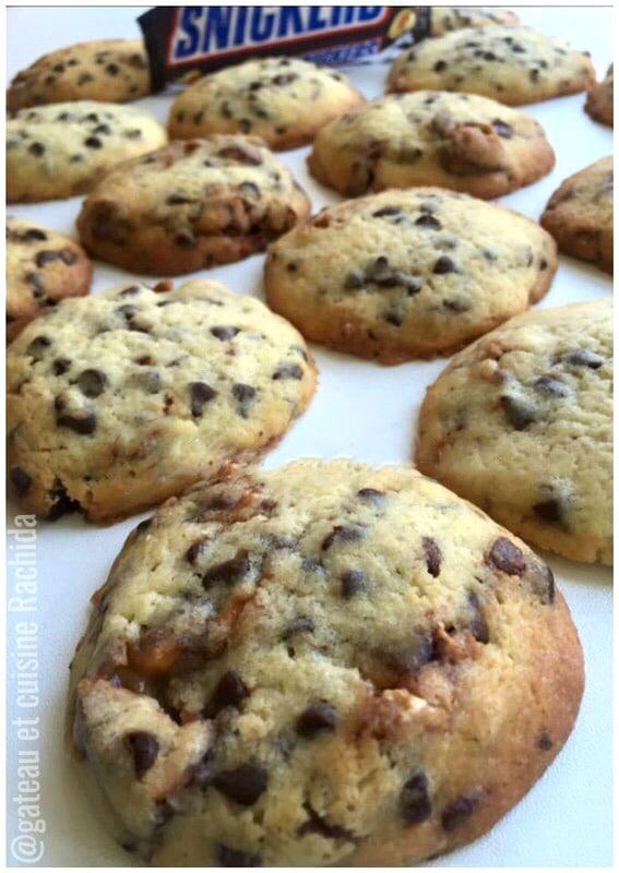 recette de cookies aux snickers facile et moelleux