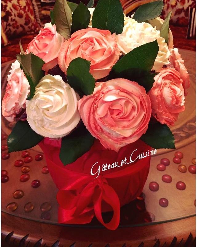 cupcakes vanille chantilly en bouquet à offrir