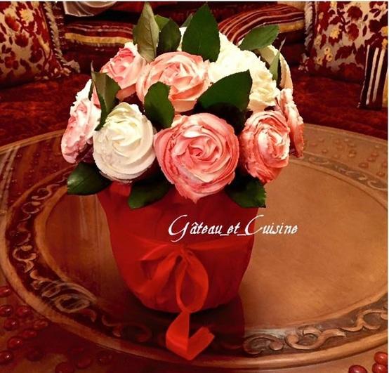 bouquet de cupcakes vanille pour la st valentin