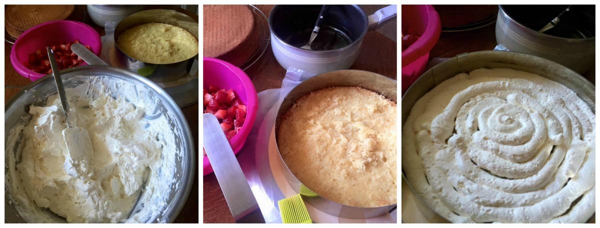 montage layer cake aux fraises