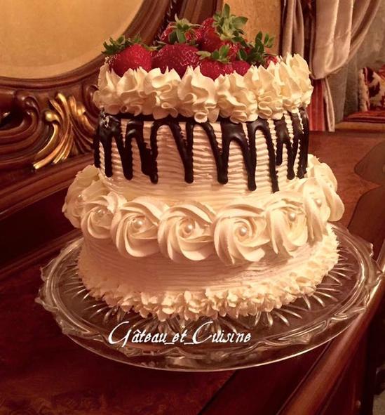 layer cake aux fraises et chantilly