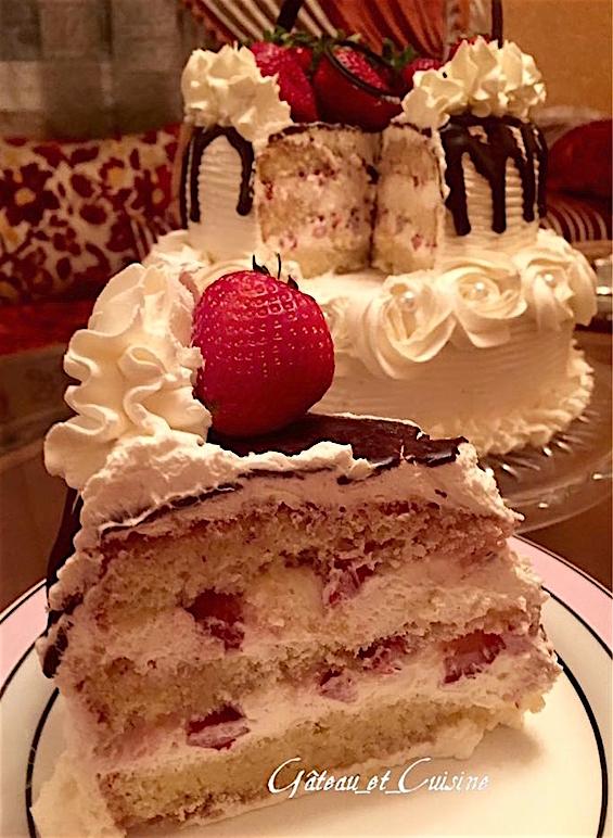 LAYER CAKE AUX FRAISES ET CHANTILLY MASCARPONE