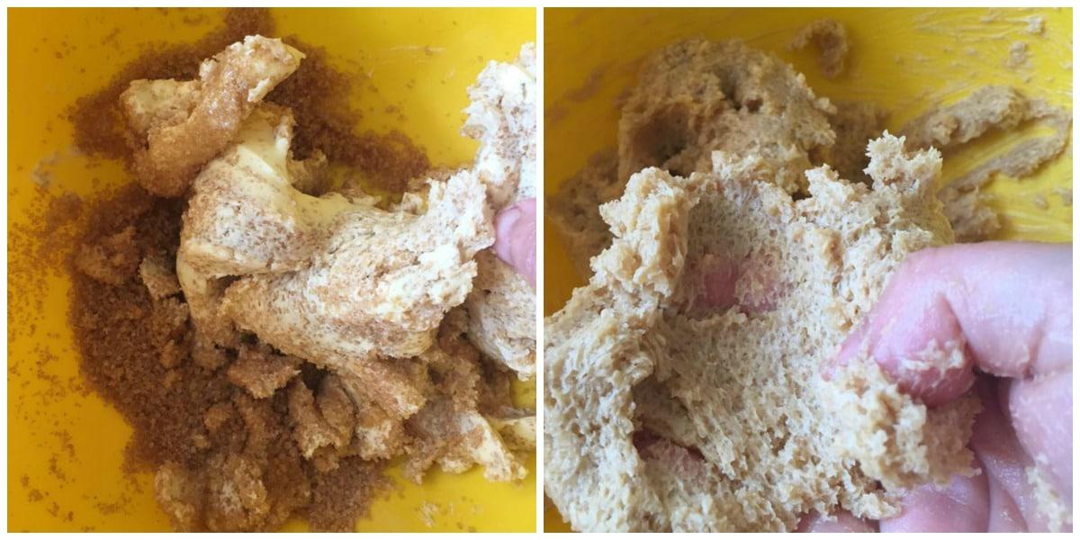 crémer le beurre et le sucre roux pour les cookies