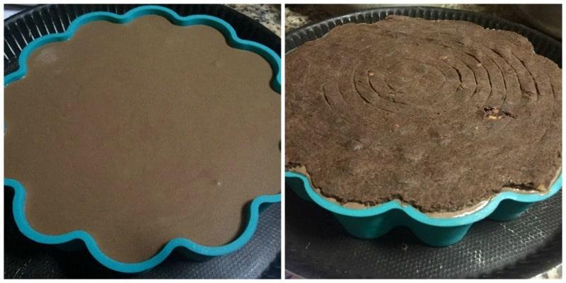 entremet 3 mousse au chocolat avec brownie noisette en forme de fleur
