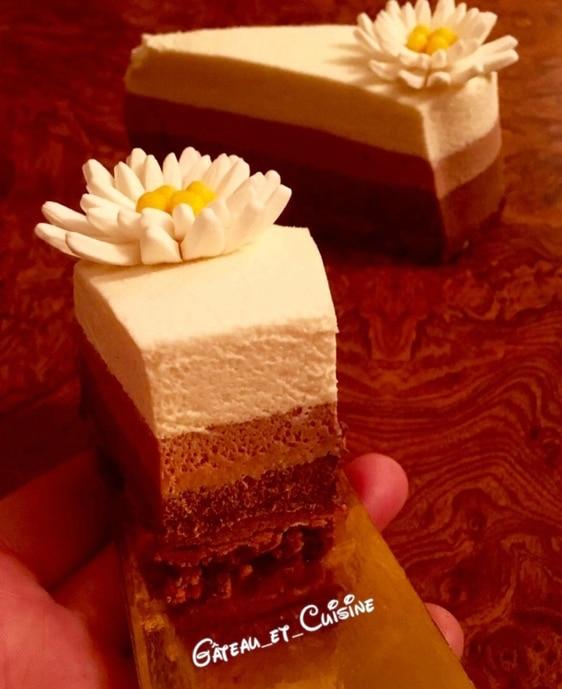 entremet au chocolat - au trois mousse chocolat sur crème anglaise