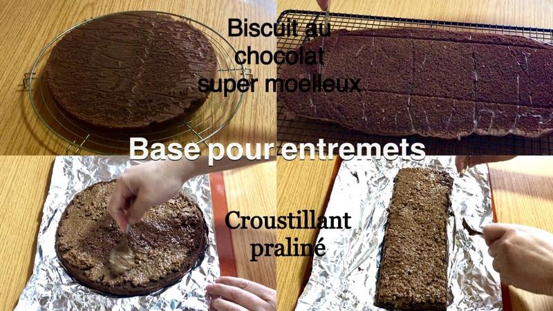 biscuit moelleux au chocolat et croustillant praliné