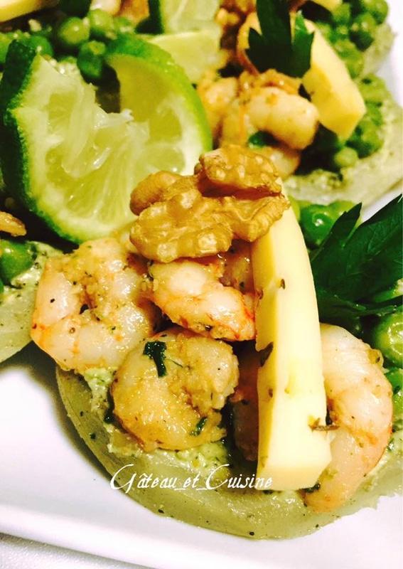 artichaut pesto ,crevette et petit pois ,recette gateau et cuisine rachida