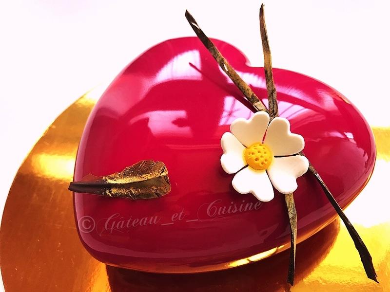 entremets vanille chocolat et framboise- entremets coeur avec glaçage miroir