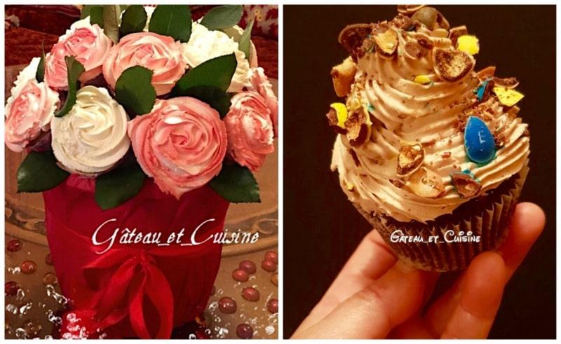 bouquet de cupcakes avec crème chantilly mascarpone
