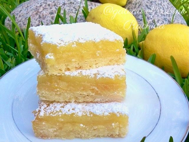 recette carré au citron -tarte au citron facile