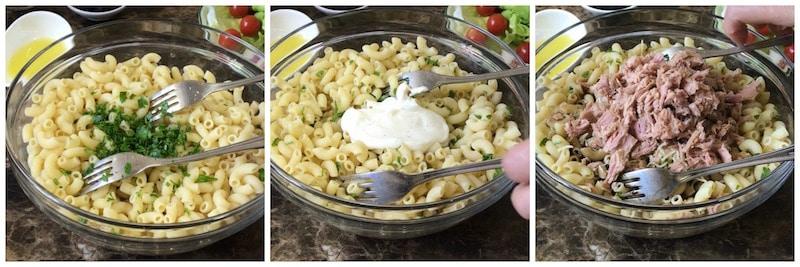 salade complète de pâte et de thon