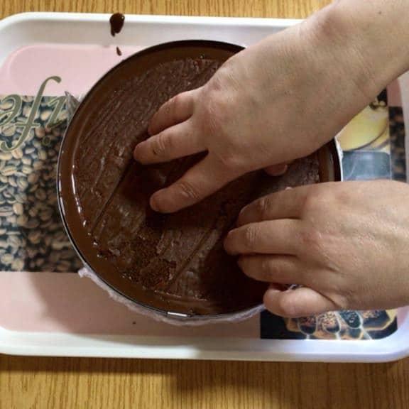 entremet au chocolat palet or - montage