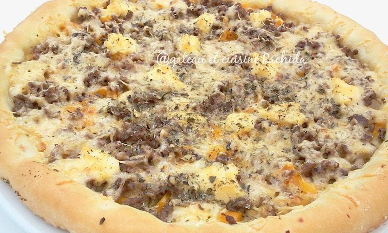 pizza viande hachée avec pâte pizza maison