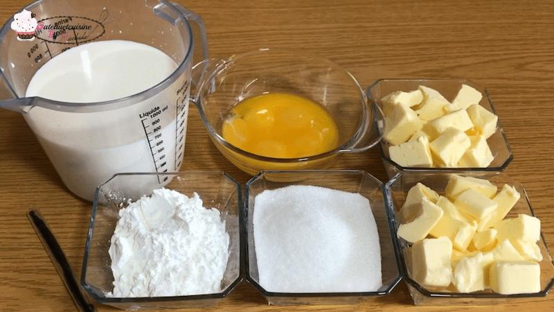Ingrédients crème mousseline