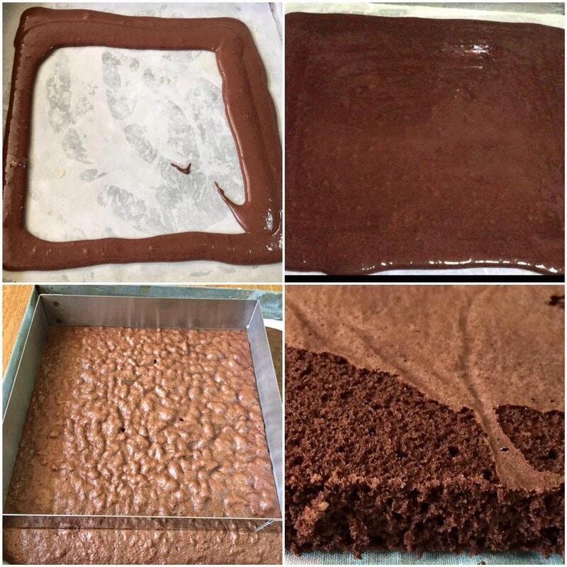 carré de génoise entremets aux deux mousses chocolats