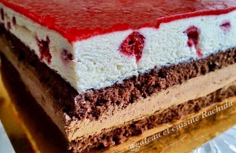 entremet 2 chocolats et framboise ,gâteau d'anniversaire