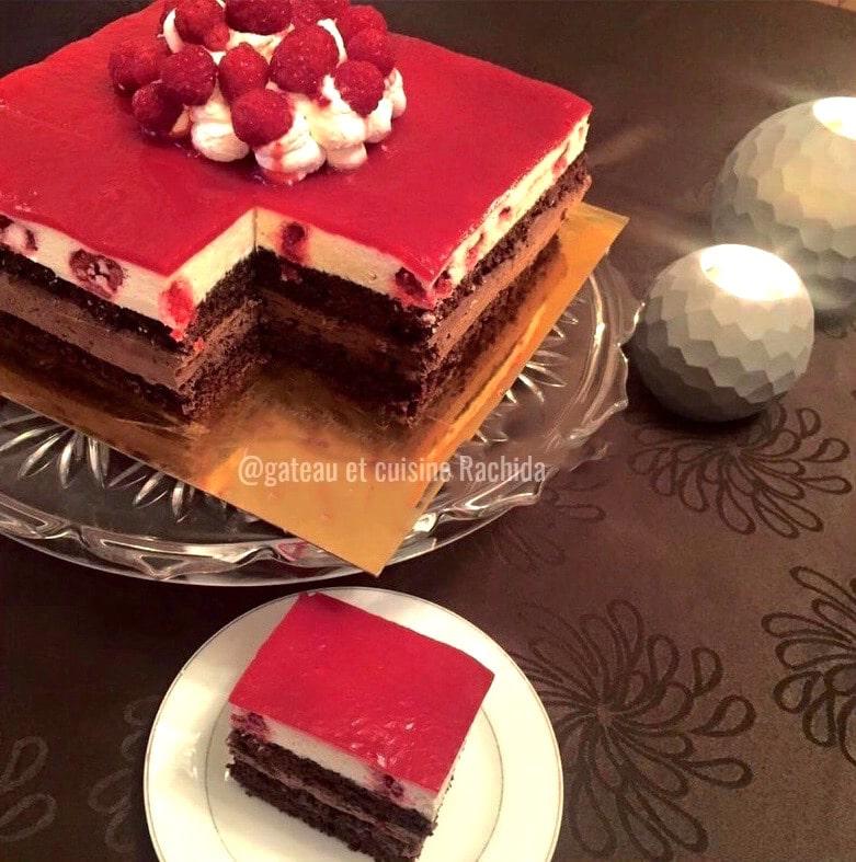 entremets aux deux mousses chocolat et framboises- gâteau d'anniversaire