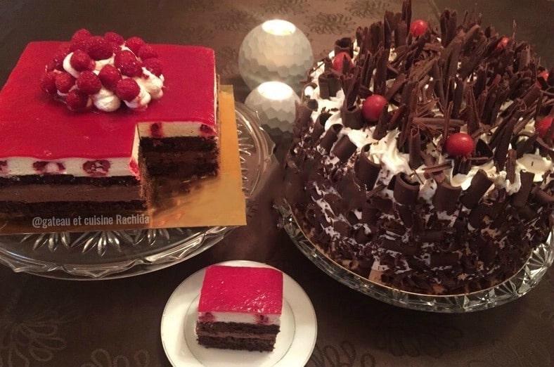 entremets 2 chocolats et framboises