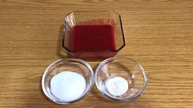 ingrédients confit framboises dans entremet fraise