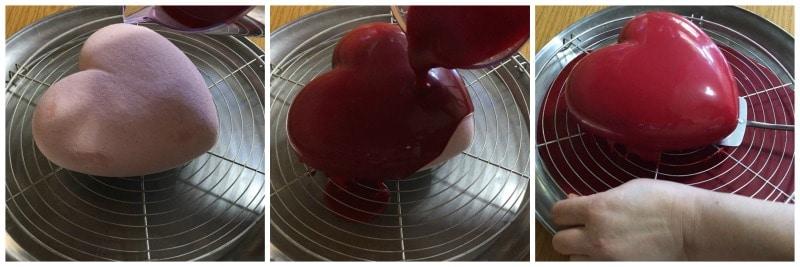 entremet fraise et son glaçage miroir au chocolat ultra brillant
