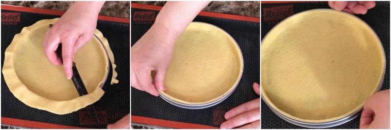 3.fonçage traditionnel pour tarte avec pâte sucrée