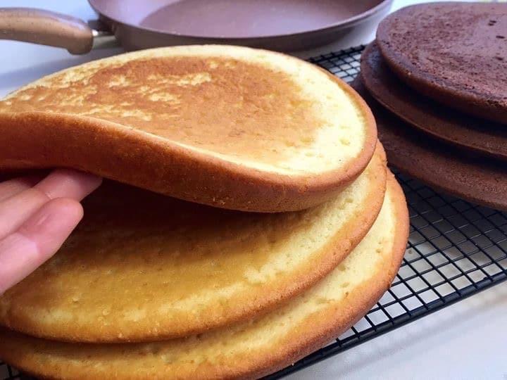 Génoise cuite à la poêle pour gâteau d'anniversaire et layer cake