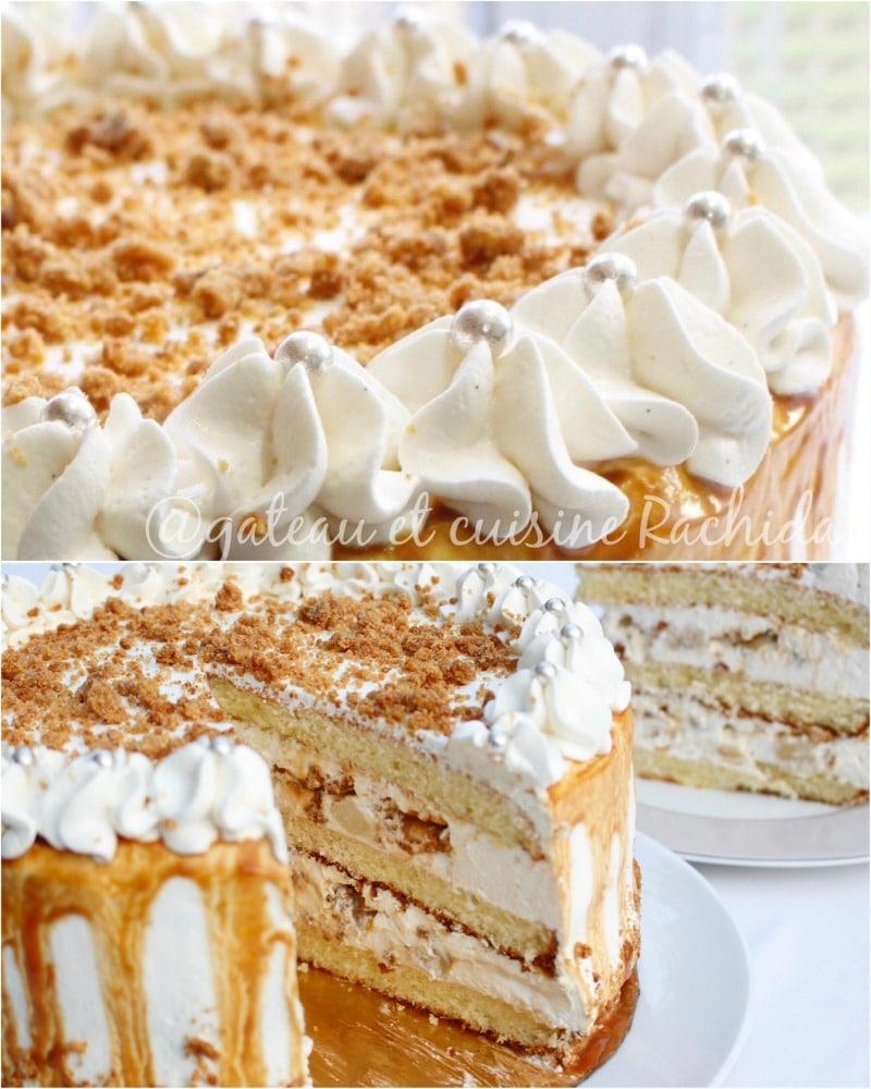 Layer cake poire caramel beurre salé avec ganache montée et crumble