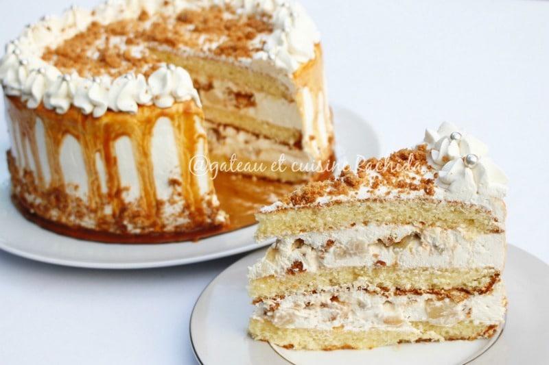 layer cake crumble poire et caramel au beurre salé facile
