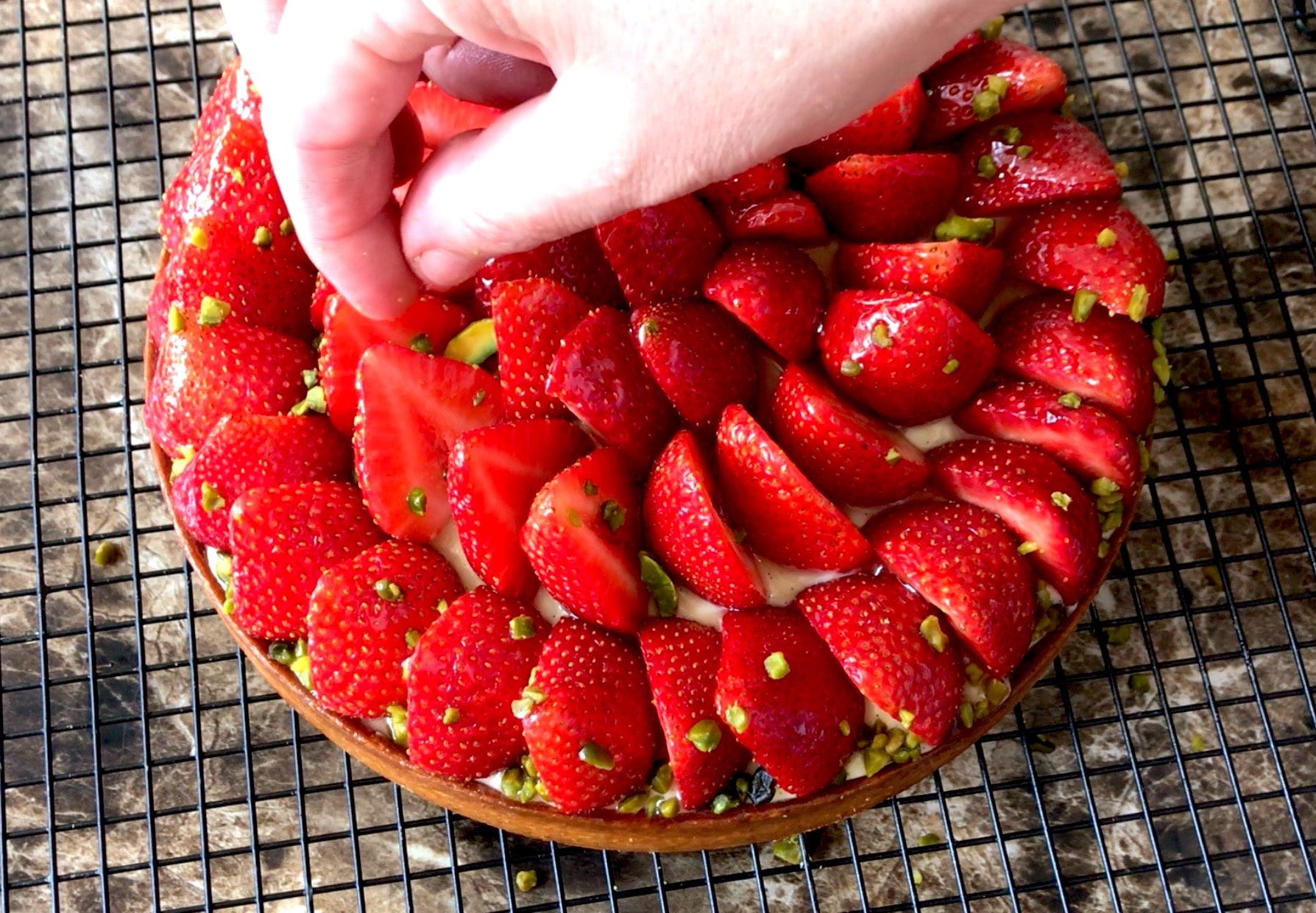 tarte au fraise pistache et crème pâtissière