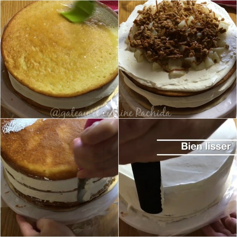 layer cake crumble poires caramel montage 4.