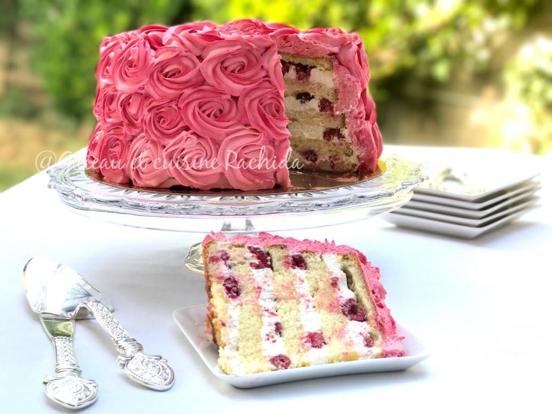 rose layer cake citron framboise pour mariage ou anniversaire