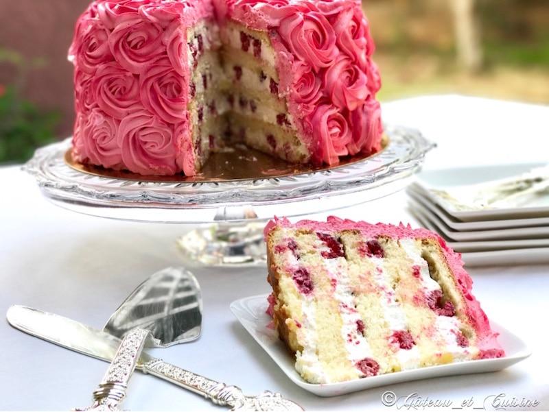 Layer cake rose cake framboise citron-gateau anniversaire
