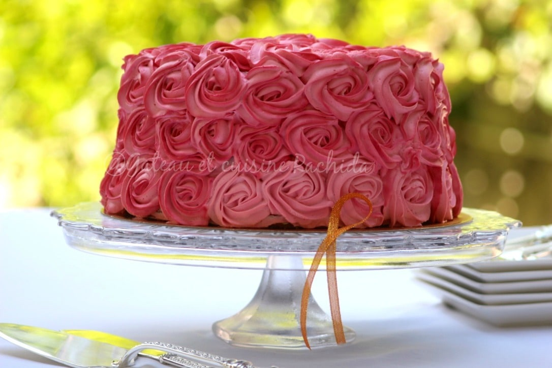 layer rose cake framboise et citron -gateau anniversaire - cake design