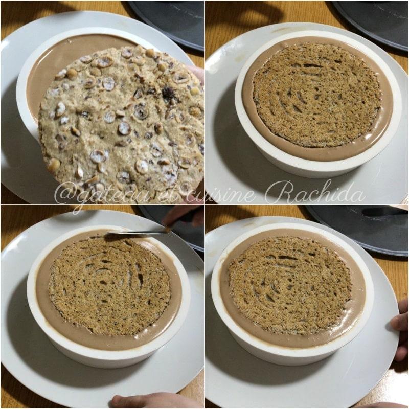montage entremets chocolat au lait et noisettes