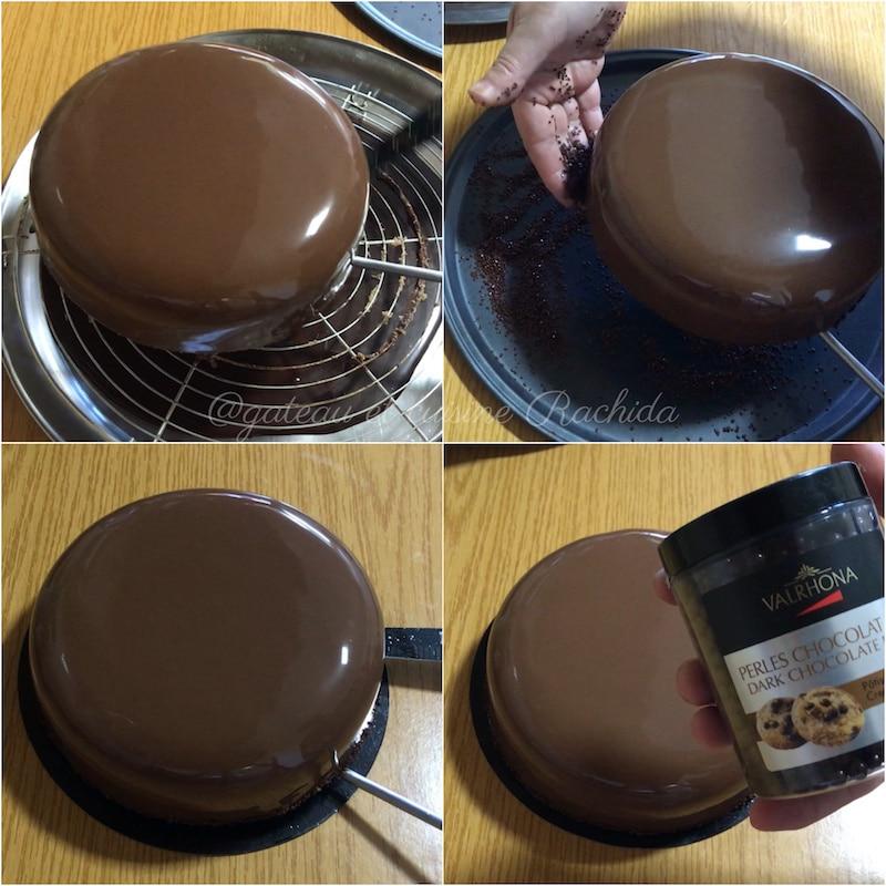 décoration entremets chocolat au lait et noisettes
