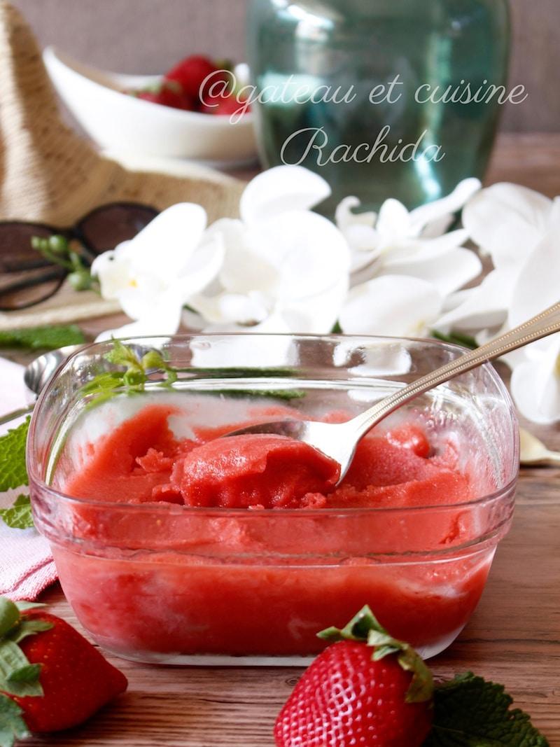 Sorbet aux fraises maison