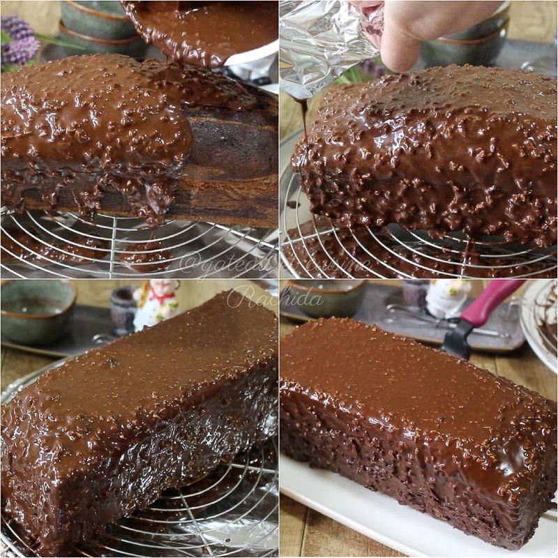 gâteau marbré avec glaçage rocher au chocolat et amande
