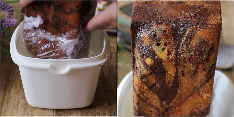 cake marbré chocolat vanille avec insert ganache chocolat