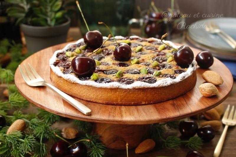 tarte aux cerises et crème amande et pistache