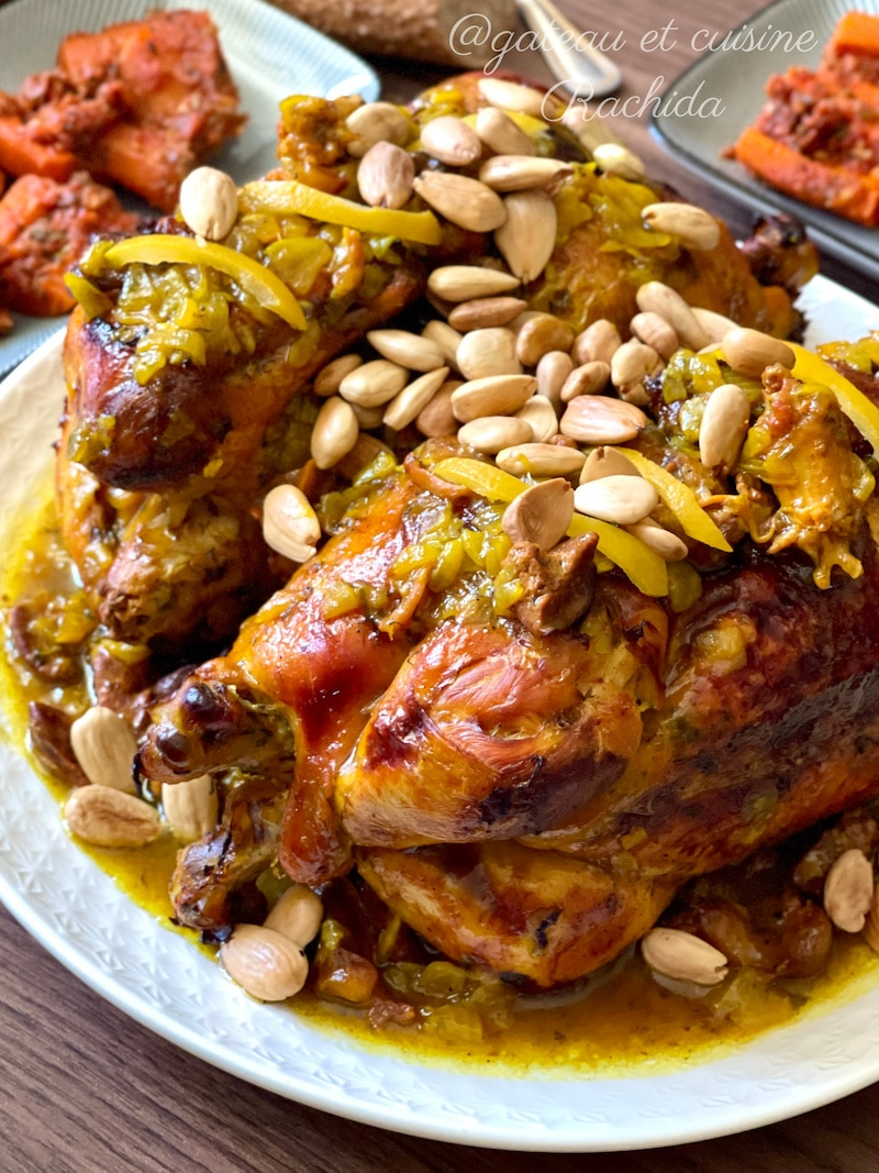 recette poulet roti au four - plat marocain - tajine marocain