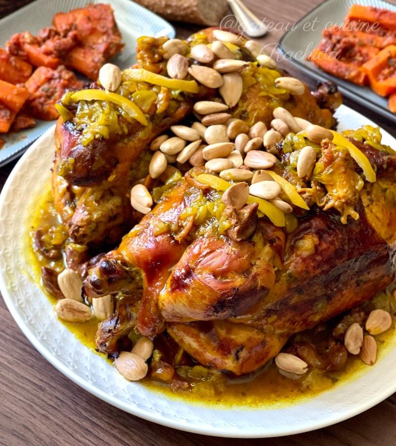 Poulet roti citron confit et amandes ou olives