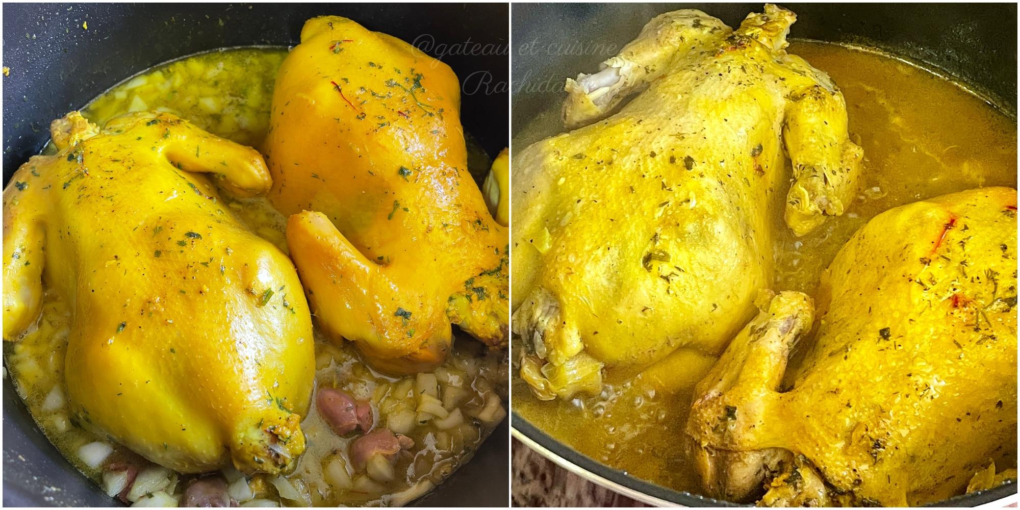 cuisson poulet roti à la marocaine avec amandes et citron confit