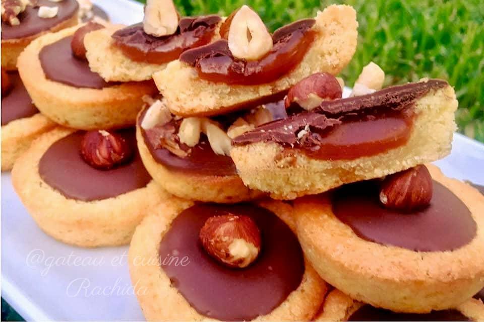 recette des krumchy-mini tartelette sablé breton chocolat et caramel