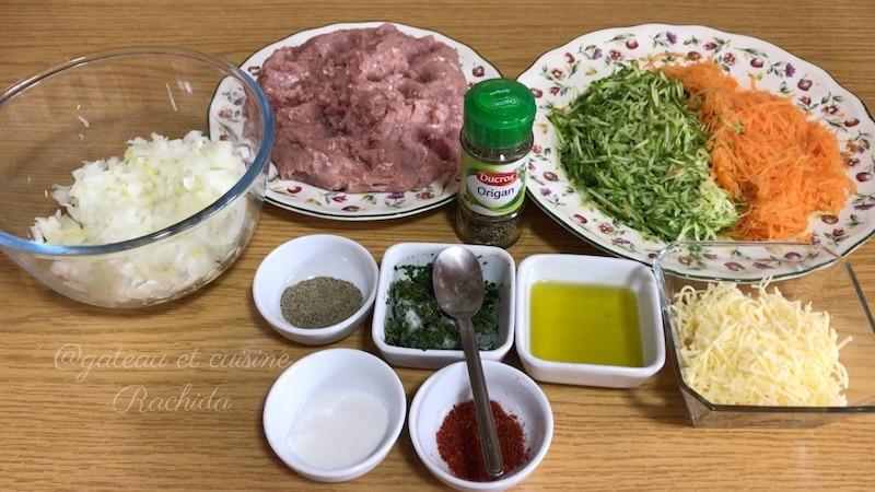 ingrédients courgette carotte et viande hachée pour brick