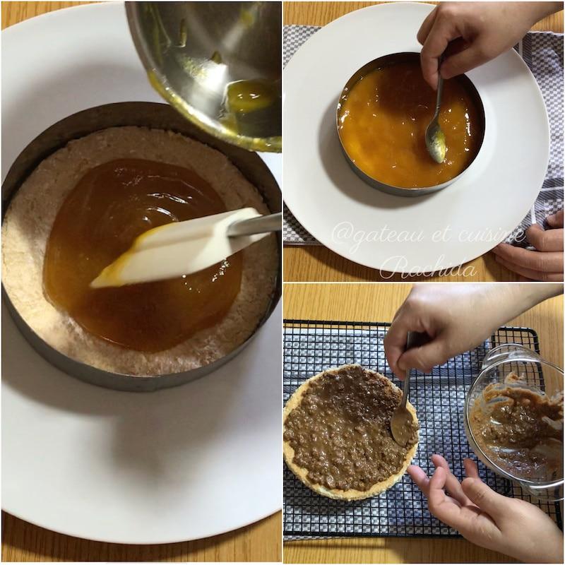 Entremets mousse chocolat au lait et fruits de la passion-confit passion-dacquoise amande-