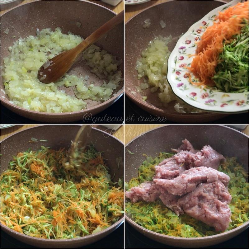 Comment réaliser des bricks aux courgettes ,carottes et viande hachée
